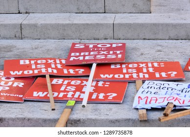 London, UK. Jan 17 2019. Anti Brexit / Pro remain protest signs on the sidewalk waiting to be used near College Green Westminster following Theresa May's Brexit Deal plan being voted a no go by UK MPs