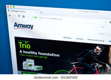 LONDON, UK - JAN 25TH 2018: Homepage of the website for Amway - the US company specialising in the use of multi-level marketing to sell health, beauty and home care products, on 25th January 2018.
