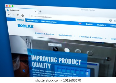 LONDON, UK - JAN 25TH 2018: Homepage of the website for Ecolab - the global provider of water, hygiene and energy technology and services to food, health and hospitality markets, on 25th January 2018.