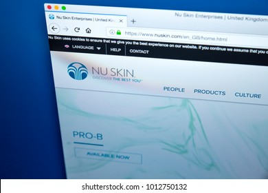 LONDON, UK - JAN 25TH 2018: Homepage of the Website for Nu Skin Enterprises - the US marketing company which develops and sells personal care products and dietary supplements, on 25th January 2018.
