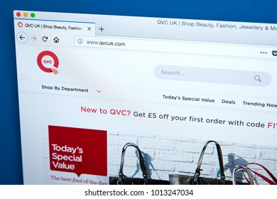 LONDON, UK - JAN 25TH 2018: The homepage of the website for QVC, abbreviation of Quality Value Convenience -  the American cable, satellite and broadcast television network, on 25th January 2018.