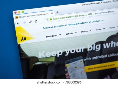 LONDON, UK - JAN 4TH 2018: The homepage of the official website for The Automobile Association, known as the AA - the British motoring association which provides car insurance, breakdown cover etc.