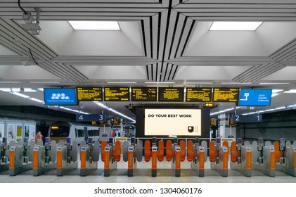 LONDON, UK  JAN11, 2019: Ticket gates at the entrance of a London Fenchurch railway station