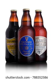 LONDON, UK - JANUARY 02, 2018:  Bottles of Guinness rye pale ale, west indies porter and golden ale beer on white. Guinness beer has been produced since 1759 in Dublin, Ireland.