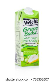 LONDON, UK - JANUARY 02, 2018: Pack of Welch's Grape Boost white grape pear and apple juice on white background.Welch Food Inc. is owned by the National Grape Cooperative Association.