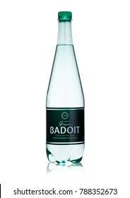 LONDON, UK - JANUARY 02, 2018: Plastic of Badoit Saint Galmier France mineral carbonated water on white background. Product by Danone