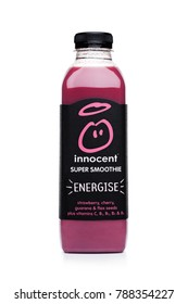 LONDON, UK - JANUARY 02, 2018: Bottle of Innocent super smoothie fruit drink with vitamins on white background.