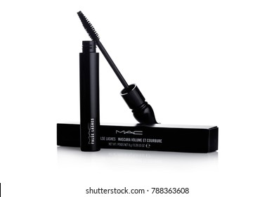 LONDON, UK - JANUARY 02, 2018: MAC False Lashes mascara container with brush on white background. MAC Cosmetics was founded in Toronto, Ontario, Canada in 1984.