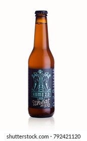 LONDON, UK - JANUARY 02, 2018: Bottle of Home 2.0 wheat craft beer on white background