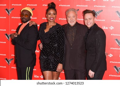 """LONDON, UK. January 03, 2019: Will.i.am, Jennifer Hudson, Sir Tom Jones & Olly Murs at the launch photocall for the 2019 series of """"The Voice"""" London.Picture: Steve Vas/Featureflash"""