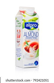 LONDON, UK - JANUARY 10, 2018: Alpro Soya Roasted Almond unsweetened milk on white background