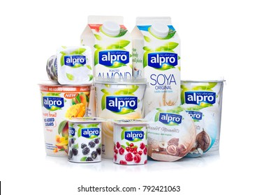 LONDON, UK - JANUARY 10, 2018: Alpro Soya milk and yogurt products on white background