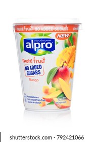 LONDON, UK - JANUARY 10, 2018: Alpro Soya Yogurt cultures with Mango flavor on white background