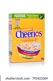 LONDON, UK - JANUARY 10, 2018: Pack of Cheerios  whole grain ceral for breakfast on white background.Product of Nestle