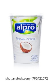 LONDON, UK - JANUARY 10, 2018: Alpro Soya Yogurt cultures with Coconut flavor on white background