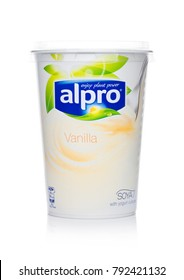 LONDON, UK - JANUARY 10, 2018: Alpro Soya Yogurt cultures with Vanilla flavor on white background