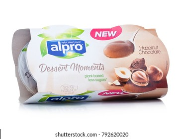 LONDON, UK - JANUARY 10, 2018: Package of Alpro Dessert Moments with hazelnut chocolate flavor on white background