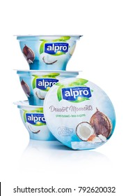 LONDON, UK - JANUARY 10, 2018: Alpro Dessert Moments with coconut flavor on white background
