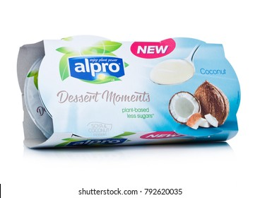 LONDON, UK - JANUARY 10, 2018: Package of Alpro Dessert Moments with coconut flavor on white background