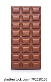 LONDON, UK - JANUARY 10, 2018: Cadbury Milk Chocolate bar on white background. Cadbury is British multinational confectionery company.