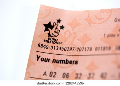 London, UK: January 10, 2019: EuroMillions is a transnational lottery requiring 7 correct numbers to win the jackpot. It was launched in UK on 7 February 2004 by Camelot.
