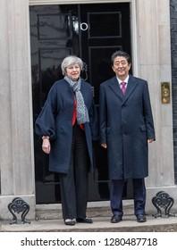 LONDON UK JANUARY 10TH 2018,  Shirizo Abe Prime Minister of Japan, visits Theresa May MP PC, Prime Minister at 10 Downing Street, London