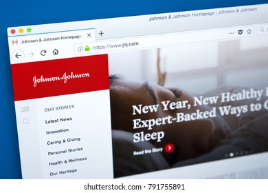 LONDON, UK - JANUARY 10TH 2018: The homepage of the official website for Johnson & Johnson - the American medical, pharmaceutical, and consumer goods manufacturing company, on 10th January 2018.
