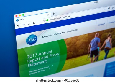 LONDON, UK - JANUARY 10TH 2018: The homepage of the official website for Procter & Gamble - the American multinational consumer goods corporation, on 10th January 2018.