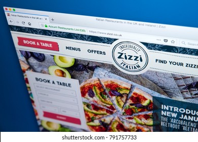 LONDON, UK - JANUARY 10TH 2018: The homepage of the official website for Zizzi - the restaurant chain serving Italian cuisine in the UK, on 10th January 2018.