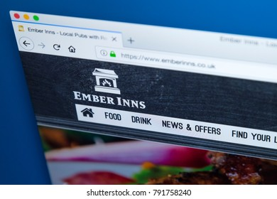 LONDON, UK - JANUARY 10TH 2018: The homepage of the official website for the Ember Inns pub brand which is owned by Mitchells and Butlers plc, on 10th January 2018.
