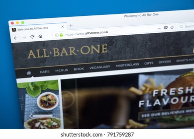 LONDON, UK - JANUARY 10TH 2018: The homepage of the official website for the All Bar One pub chain which is owned by Mitchells and Butlers plc, on 10th January 2018.