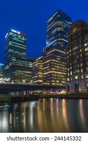LONDON, UK - JANUARY 11, 2015: Night view of Canary Wharf, a major business district located in Tower Hamlets, London, UK. It contains many of the UK's tallest buildings.