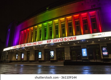 LONDON, UK - JANUARY 11TH 2016: RIP DAVID BOWIE message on the Eventim Apollo (also known as the Hammersmith Apollo), marking the sad announcement of his death, on 11th January 2016.