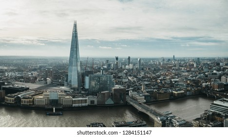 London, UK - January 13, 2019: Panoramic view of London and Shard, the highest building in the city. View from Sky Garden, the highest public garden in London