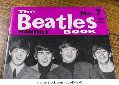 LONDON, UK - JANUARY 13TH 2017: Close-up shot of issue number 7 of The Beatles Monthly Book, issued in February 1964, placed on a tabletop, pictured on 13th January 2017.