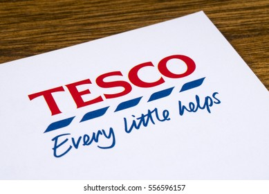 LONDON, UK - JANUARY 13TH 2017: A close-up of the Tesco logo and slogan on a promotional leaflet, on 13th January 2017.
