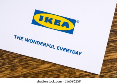LONDON, UK - JANUARY 13TH 2017: A close-up of the Ikea company logo with the company slogan The Wonderful Everyday, printed on one of their promotional leaflets, on 13th January 2017.