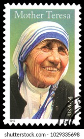 London, UK, January 15 2012 - Vintage 2010 United States of America cancelled postage stamp  showing a portrait image of  Mother Teresa