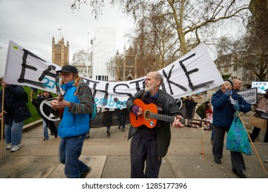 London, UK. - January 15, 2019: Musicians lead a march by supporters of Earth Strike, a grassroots enviromental activisit movement, to kickoff a campaign for a General Stike day on 27 September.