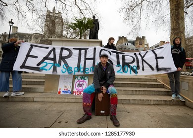 London, UK. - January 15, 2019: Supporters of Earth Strike, a grassroots enviromental activisit movement, who demonstrated in Parliament to campaign for a General Stike day on 27 September.