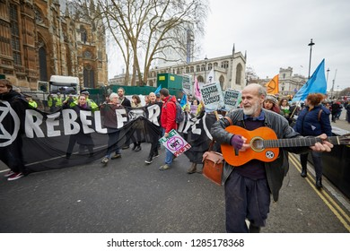 London, UK. - January 15, 2019: Supporters of Earth Strike, a grassroots enviromental activisit movement, blocked roads around Parliament to campaign for a General Stike day on 27 Sept 2019.