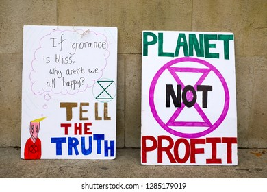 London, UK. - January 15, 2019: Placards from Earth Strike, a grassroots enviromental activisit movement, which demonstrated in Parliament to call for a General Stike day on 27 Sept 2019.