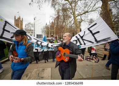 London, UK. - January 15, 2019: Musicians lead a march by supporters of Earth Strike, a grassroots environmental activisit movement, to kickoff a campaign for a General Stike day on 27 September.
