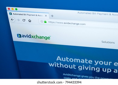 LONDON, UK - JANUARY 15TH 2018: The homepage of the official website for AvidXchange - the American company that provides automated AP solutions and accounting software, on 15th January 2018.