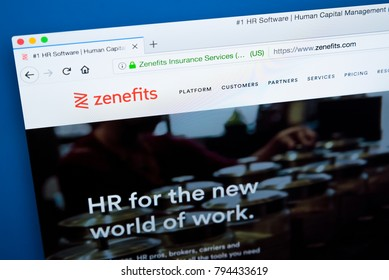 LONDON, UK - JANUARY 15TH 2018: The homepage of the official website for Zenefits - the American company that offers software to companies for managing their human resources, on 15th January 2018.