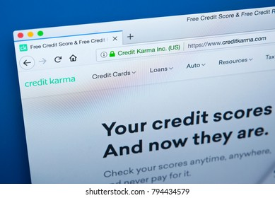 LONDON, UK - JANUARY 15TH 2018: The homepage of the official website for Credit Karma - the American personal finance company, on 15th January 2018.