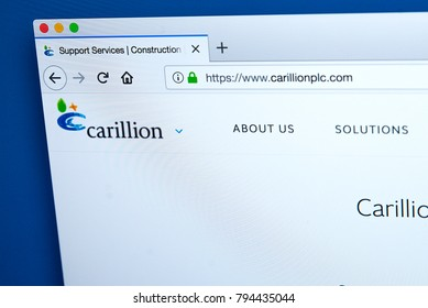 LONDON, UK - JANUARY 15TH 2018: The homepage of the official website for Carillion plc - the British multinational facilities management and construction services company, on 15th January 2018.