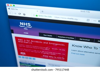 LONDON, UK - JANUARY 15TH 2018: The homepage of the official website for NHS Fife, on 15th January 2018. It provides healthcare services in the Fife area in Scotland.