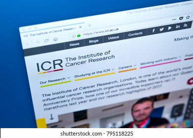 LONDON, UK - JANUARY 15TH 2018: The homepage of the official website for The Institute of Cancer Research. The ICR is a public research institute and a constituent college of the University of London.