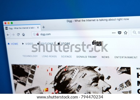 504db2e4fa LONDON, UK - JANUARY 15TH 2018: The homepage of the official website for  Digg